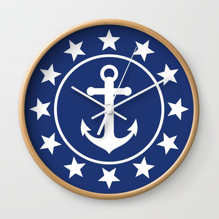 White Anchors & Stars Pattern on Navy Blue Wall Clock