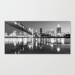 Panoramic View of Cincinnati Ohio - Black and White City Skyline Canvas Print