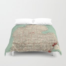 Vintage Map of Michigan (1888) Duvet Cover