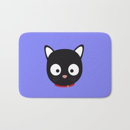 Cute black cat with red collar Bath Mat