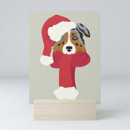 Australian Shepherd Christmas Dog Mini Art Print