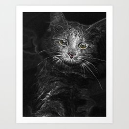 Lunar Essence of the Siberian Kitty Cat Art Print