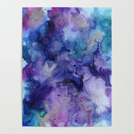 Abstract Watercolor, Ink Prints, Indigo, Blue, Purple Poster