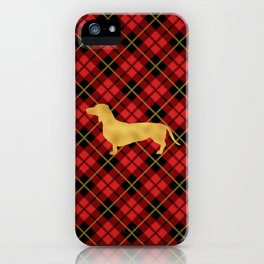 Red Plaid Dachshund iPhone Case