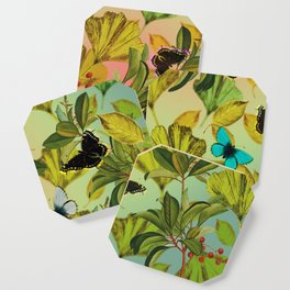 Vintage Ginkgo Leaves and Butterflies Coaster