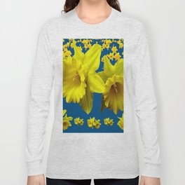 TEAL YELLOW SPRING DAFFODILS  ART DESIGN Long Sleeve T-shirt