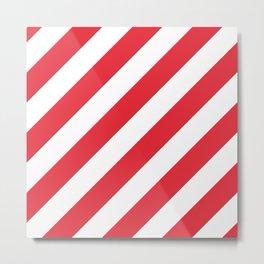 Alizarin Crimson and White Diagonal Stripes Metal Print