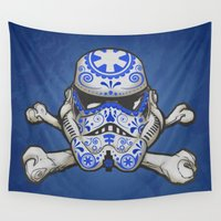 stormtrooper Wall Tapestries featuring Sugarskull stormtrooper by tshirtsz
