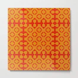 Chinese grid pattern in traditional colors Metal Print