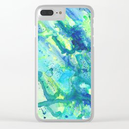 Caribbean Blues Abstract Clear iPhone Case