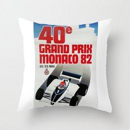 Gran Prix de Monaco, 1982, original vintage poster Throw Pillow