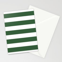 Hunter green -  solid color - white stripes pattern Stationery Cards