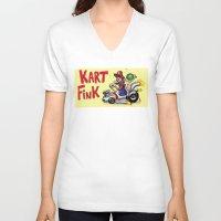 mario kart V-neck T-shirts featuring Kart Fink Big Bro! by Avedon Arcade