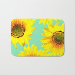 Sunflowers on a pastel green backgrond - #Society6 #buyart Bath Mat