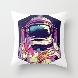 Hungry Astronaut Eating Donuts and Pizza Throw Pillow