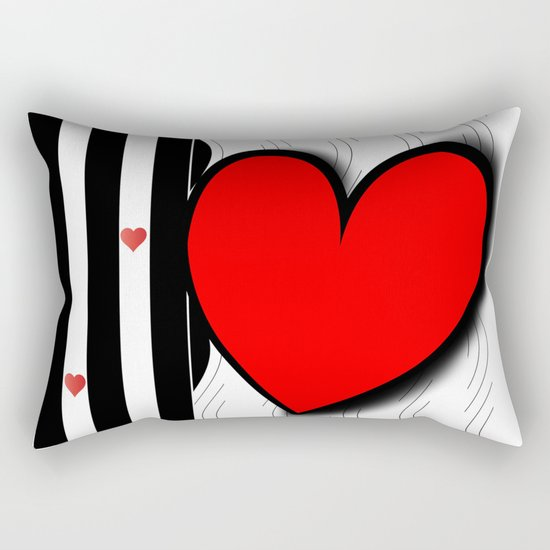 Black and white meets red Version 21 Rectangular Pillow