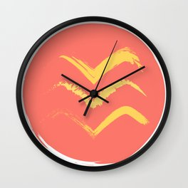 Coral and Gold Bird Stamp on Tan Wall Clock