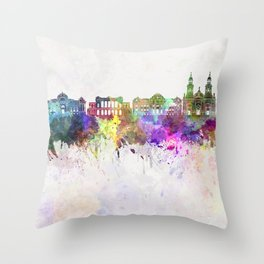 Santiago de Chile V2 skyline in watercolor background Throw Pillow
