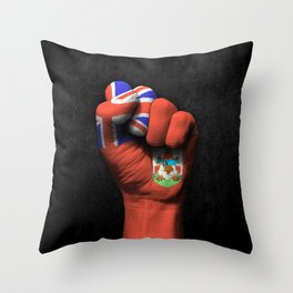 Bermuda Flag on a Raised Clenched Fist Throw Pillow