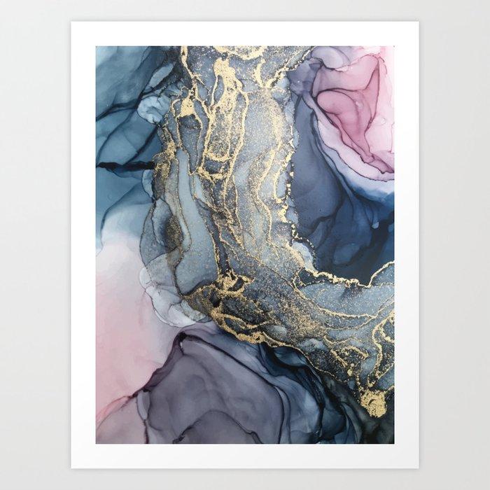 Blush, Payne's Gray and Gold Metallic Abstract Kunstdrucke
