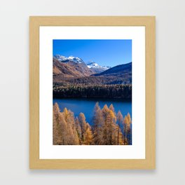 Colorful scenery above Sils, Switzerland Framed Art Print