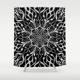 Floral Black and White Mandala Shower Curtain