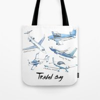 airplane Tote Bags featuring airplane by Goga Alexandra