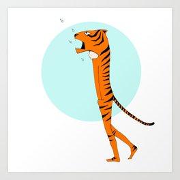 Tiger and raindrops Art Print