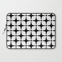 Mid Century Modern Star Pattern Black and White Laptop Sleeve