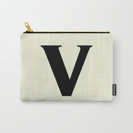 v (BLACK & BEIGE LETTERS) Carry-All Pouch