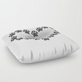 Paw Prints Heart Floor Pillow