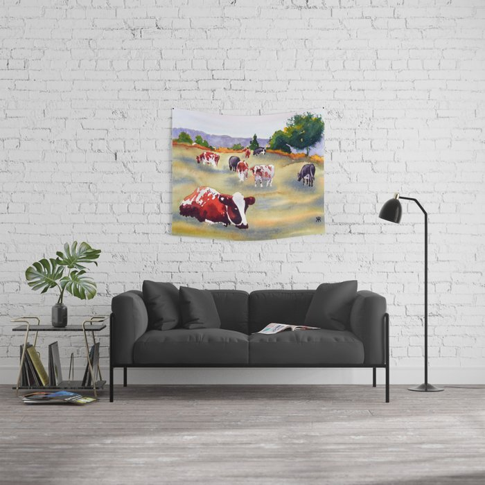 Cows in Pasture Wall Tapestry