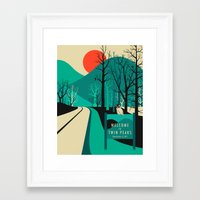 line Framed Art Prints featuring Twin Peaks by Jazzberry Blue