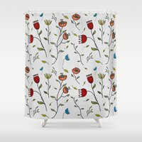 spice Shower Curtains featuring Floral Spice by Itaya Art