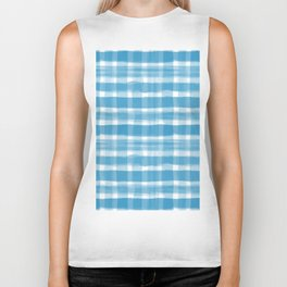 Watercolor Brushstroke Plaid Pattern Pantone Ibiza Blue 17-4245 Biker Tank