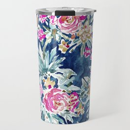 DEFLORABLE Pink Blue Floral Travel Mug