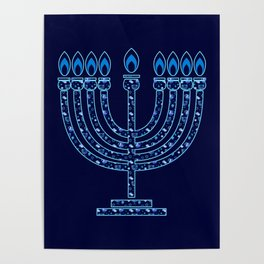 Happy Hanukkah Festival Holiday Decoration JUDAICA Poster