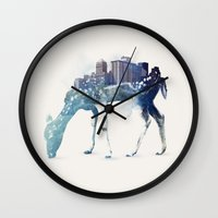 city Wall Clocks featuring City Deer by Robert Farkas