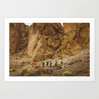 hiking Art Prints featuring Hiking by AngelaRiggs