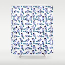 Blue Jay or Cyanocitta cristata watercolor birds painting Shower Curtain