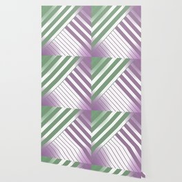 Green and Violet Stripes Wallpaper