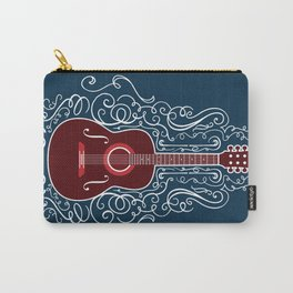 Acoustic Guitar With A Scroll Design Carry-All Pouch