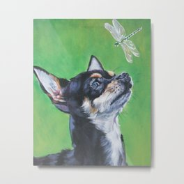 Chihuahua dog art portrait from an original painting by L.A.Shepard Metal Print