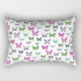 Butterfly Pattern in blue, green & pink Rectangular Pillow