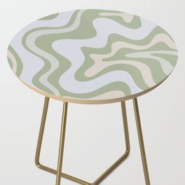 Liquid Swirl Contemporary Abstract Pattern in Light Sage Green Side Table