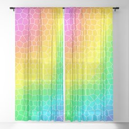 Wiggly Rainbow Gradient Dragon Scale Design! Sheer Curtain
