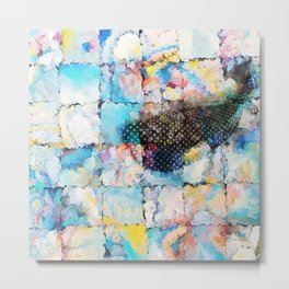 whale in spring squares Metal Print