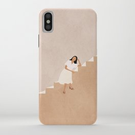 Girl Thinking on a Stairway iPhone Case