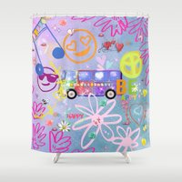 60s Shower Curtains featuring Summer of Love - the 60s by MehrFarbeimLeben