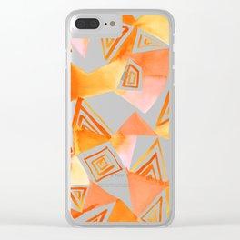 Geo Triangle Orange Clear iPhone Case